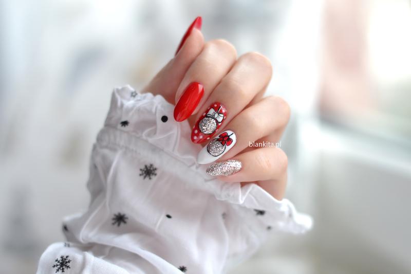 vasco nails, czerwony lakier hybrydowy, srebrny brokat hybrydowy, srebrny lakier hybrydowy