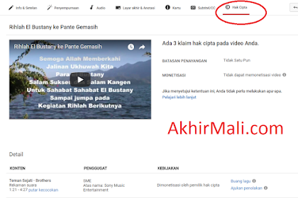 Cara Menghilangkan Copyright Video Youtube