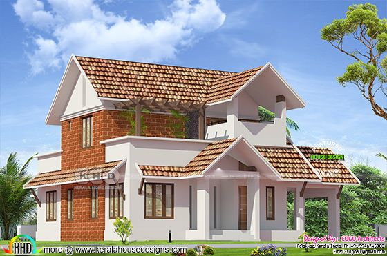 Sloping roof house with laterite stone wall
