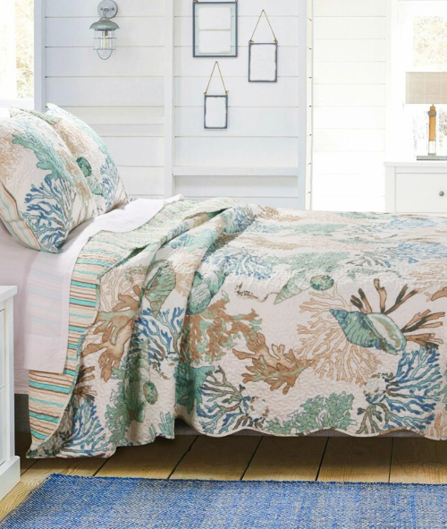Coastal Quilt with Shams Neutral Taupe Light Blue Green