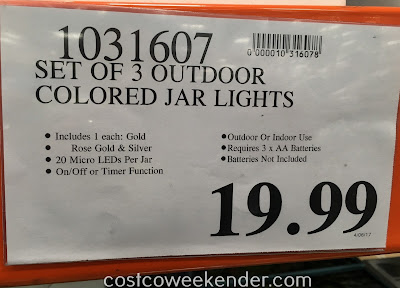 Deal for a set of 3 Inside Outside Garden Colored Glass Garden Jars at Costco