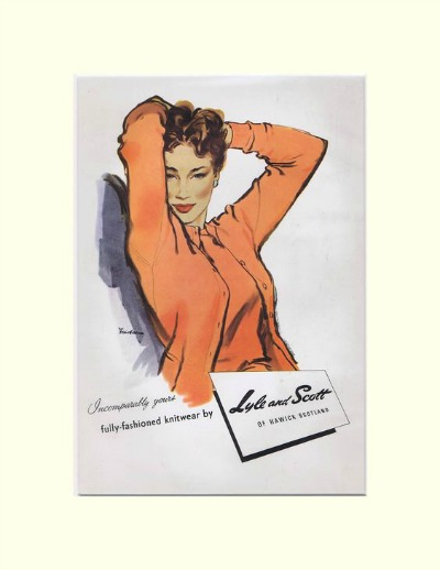 Ad with model wearing orange sweater and cardigan for Lyle and Scott from 1950s