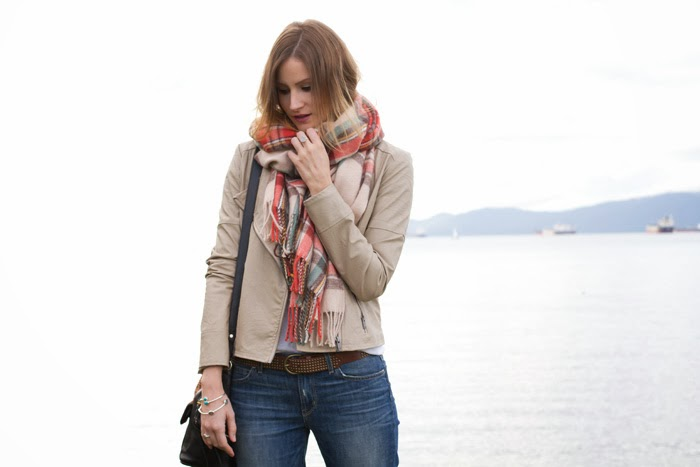 Vancouver Fashion Blogger, Alison Hutchinson is wearing a Topshop soft check scarf, urban outfitters tan leather jacket, aritzia light grey tee, rich & skinny slouchy skinny jeans, vince camuto boots, a rebecca minkoff leopard print bucket bag, and kvbijou rings and bracelets