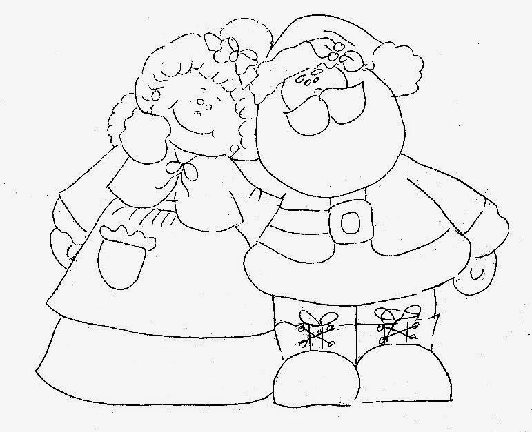 desenho de papai e mamae noel para pintar em tecido