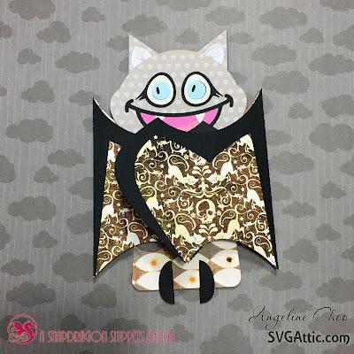 SVG Attic: Batty Love card - with Angeline #svgattic #scrappyscrappy #jgwnightenchantment #jgwvintagevalentine #diecut #papercraft #craft #scrapbook #card #cardmaking