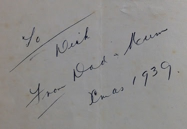 Inscription in the front cover of the Cover of Our Darlings' Treasure House edited by Alexander Watson,1936.