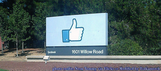 Facebook~Sign outside Facebook headquarters in Palo Alto, Calif.