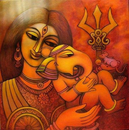 Ganesha Modern Art Painting