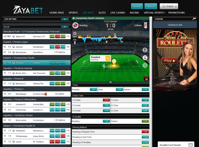 Zayabet Live Betting Screen