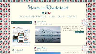 Hearts in Wonderland Blogger Templates