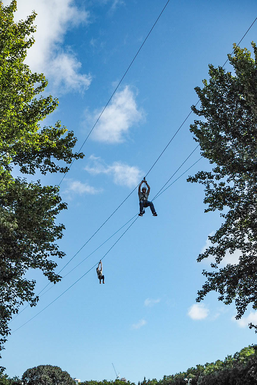 People on zip wires