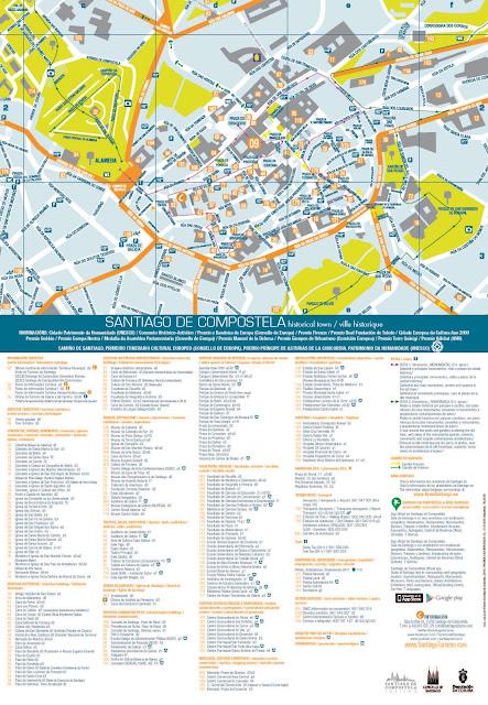 Callejero Mapa De Santiago De Compostela.Santiago De Compostela Mapa De Santiago