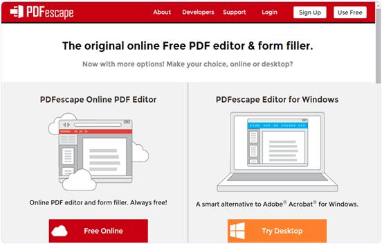Pdfescape.com online PDF editor