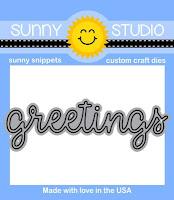 """Sunny Studio Stamps: 3"""" Script Greetings Word Die"""