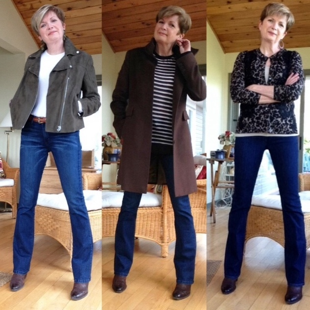 Current Elliot jeans, Theory white tee, Twiggy suede jacket by M&S, Alexander Wang striped tee, Max Mara coat, Elie Tahari animal print cardigan, Paul Green boots