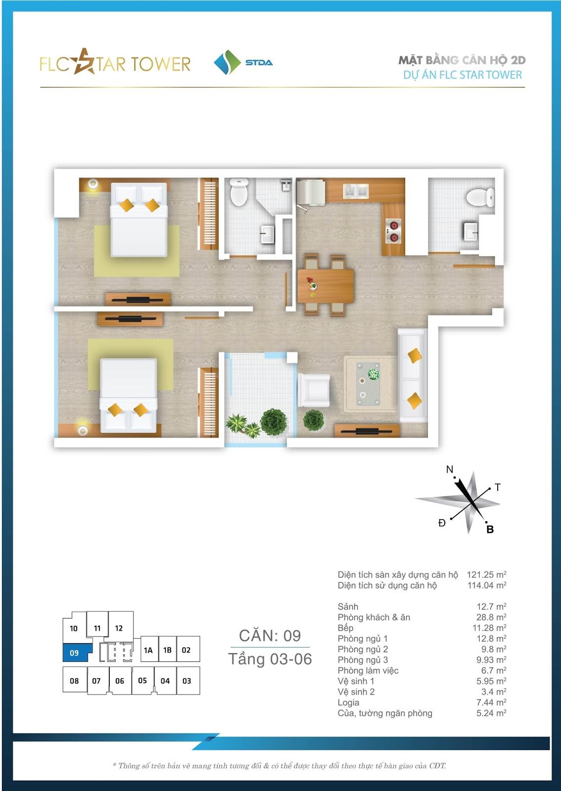 Thiết kế căn hộ 09 - Chung cư FLC Star Tower Hà Đông