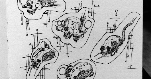 Servitora Crania: Practicing to draw servo skulls