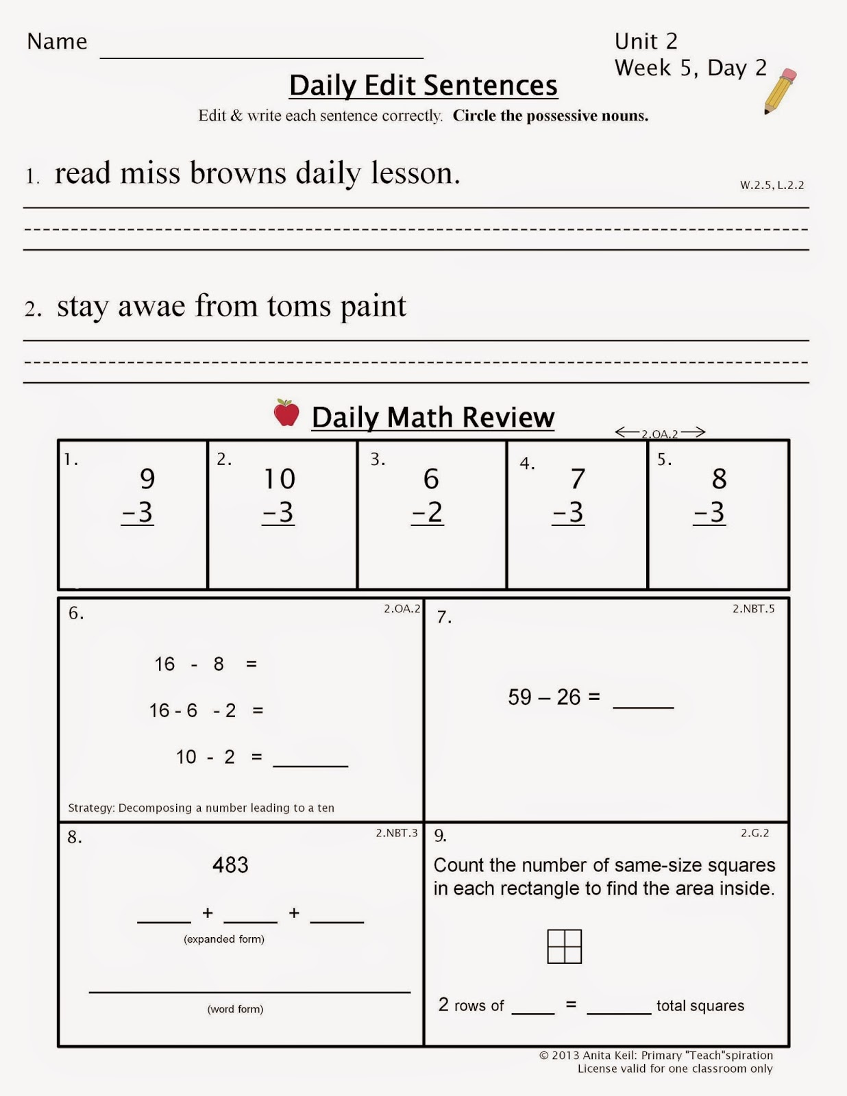 Spiral Review Math Worksheet