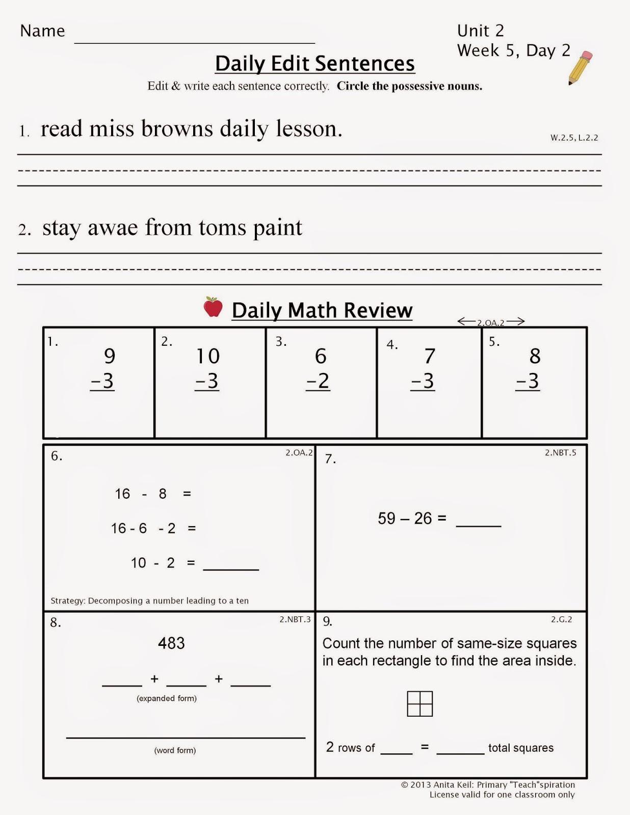 Spiral Math Review 2nd Grade