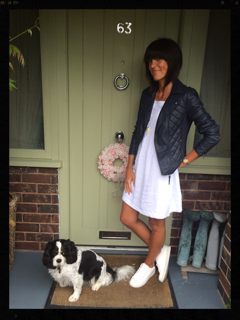 My Midlife Fashion Marks and Spencer, Faux Leather Biker Jacket, White Summer Dress, White Trainers, ASOS Tusk Necklace