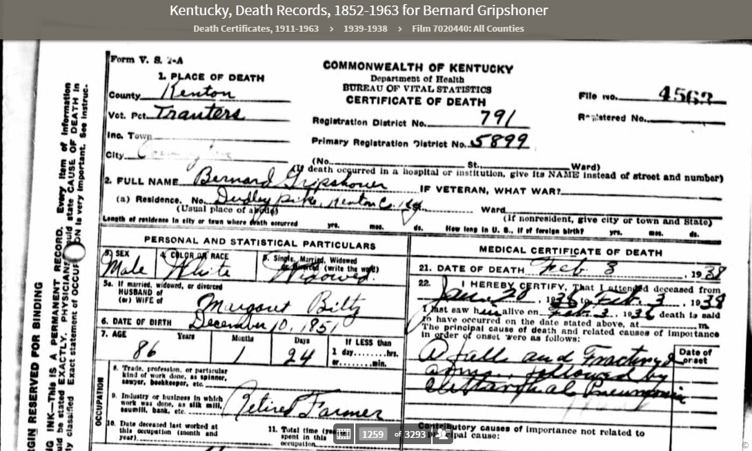 death certificate of bernard gripshover (1851 - 1938) | the amerikan ...