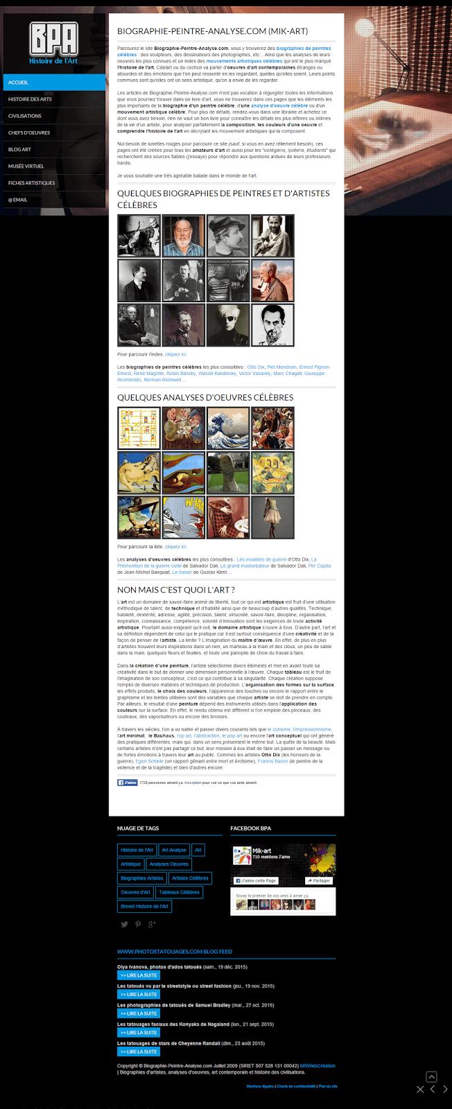 Biographie Peintre Ananlyse