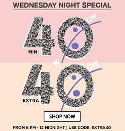 Wednesday Night Special : Min 40% Off + Extra 40% Off on Men & Women Clothing