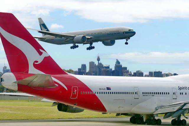 Tipps gegen Flugangst Qantas Cathay Pacific Start Flugzeug Sydney Airport Flughafen