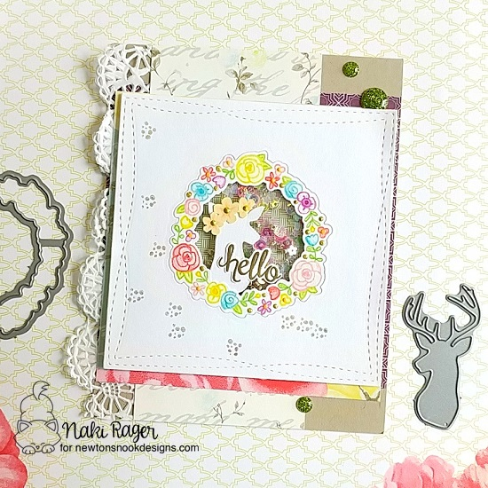 Spring Hello Card by Nakaba Rager | Happy Little Thoughts Stamp Set and Splendid Stags Die Set by Newton's Nook Designs #newtonsnook #handmade