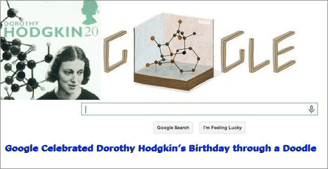Google Celebrated Dorothy Hodgkin's Birthday through a Doodle