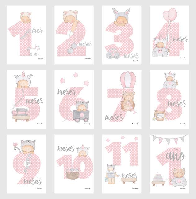 12 tarjetas para fotos de bebés   12 meses