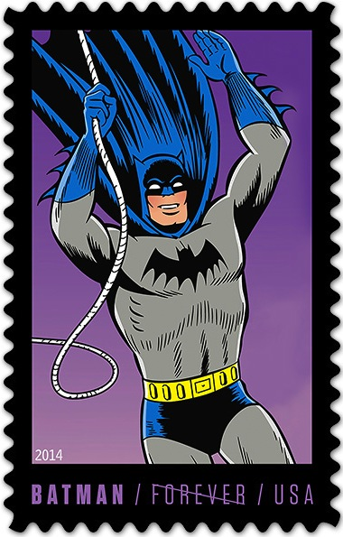 Stamp of Batman swinging on rope and waving / Underneath picture it reads Batman - Forever - USA, with line through Forever to invalidate use as postage