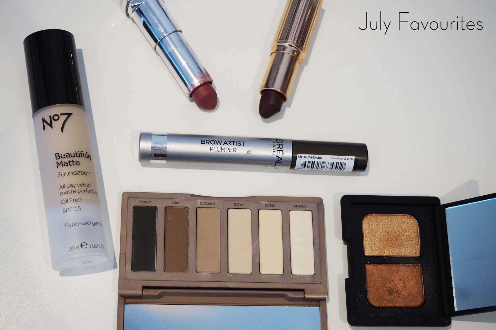 july favourites, no7 beautifully matte foundation, l'oreal brow artist plumper, maybelline creamy matte lipstick touch of spice, charlotte tilbury matte revolution lipstick glastonberry, urban decay naked basics palette, nars eyeshadow duo isolde