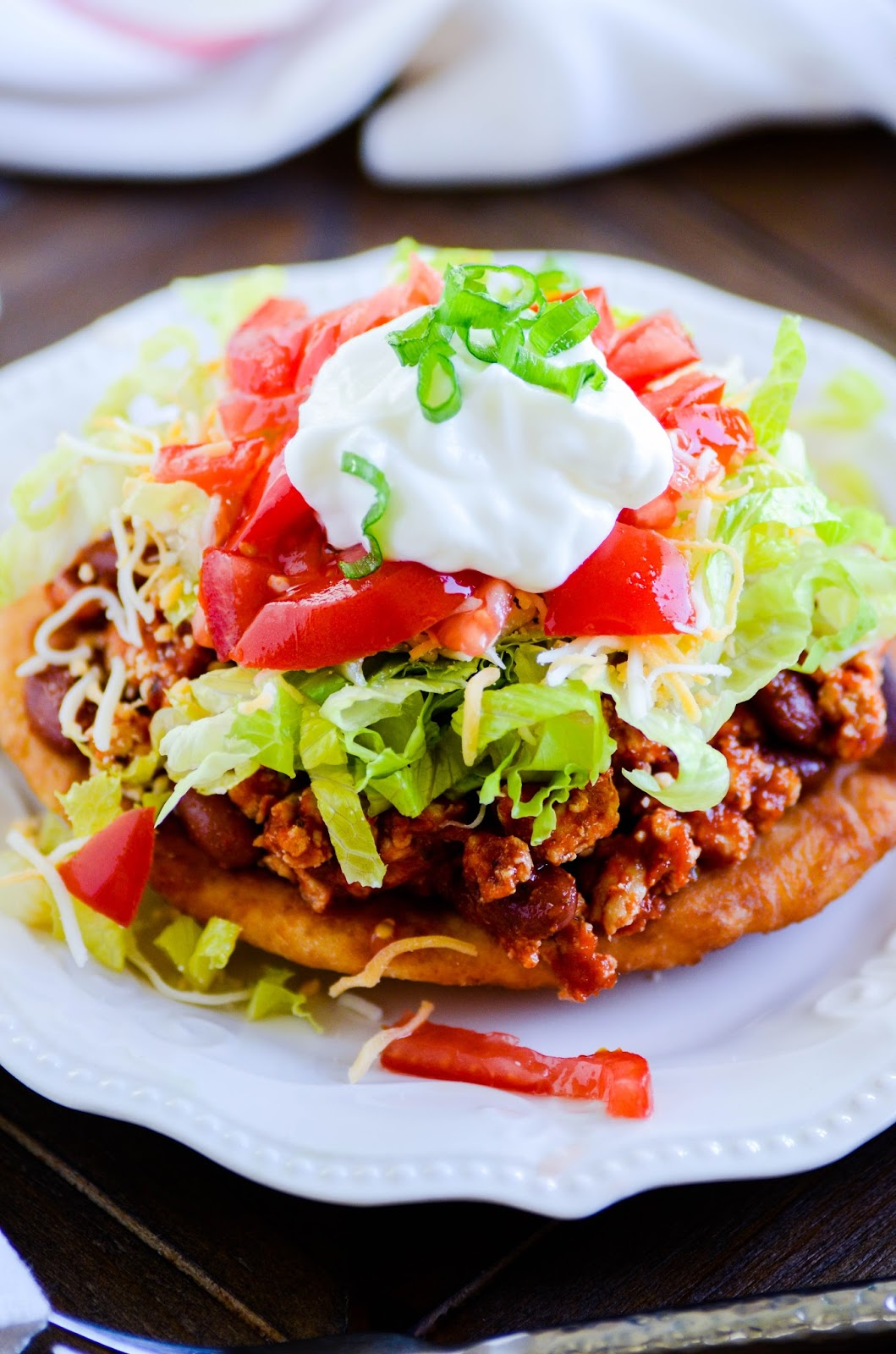 These Navajo Tacos have been one of our favorite weeknight dinners ever! The soft Indian fry bread on the bottom is incredible, and you can even save a few for after dinner to spread with honey butter and jam.