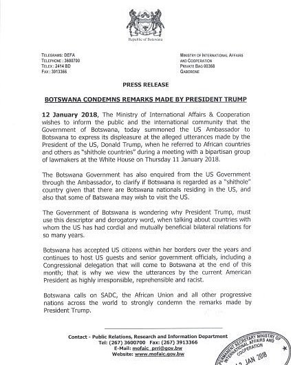Welcome to ltblog7 botswana issues press release about trumps botswana has issued a statement about shithole african countries statement by donald trump thecheapjerseys Images
