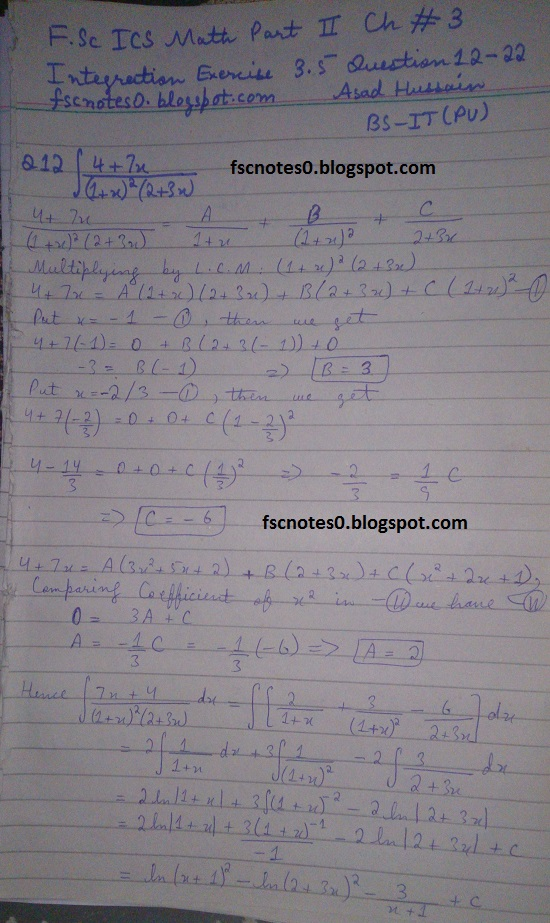FSc ICS Notes Math Part 2 Chapter 3 Integration Exercise 3.5 question 12 - 22 by Asad Hussain