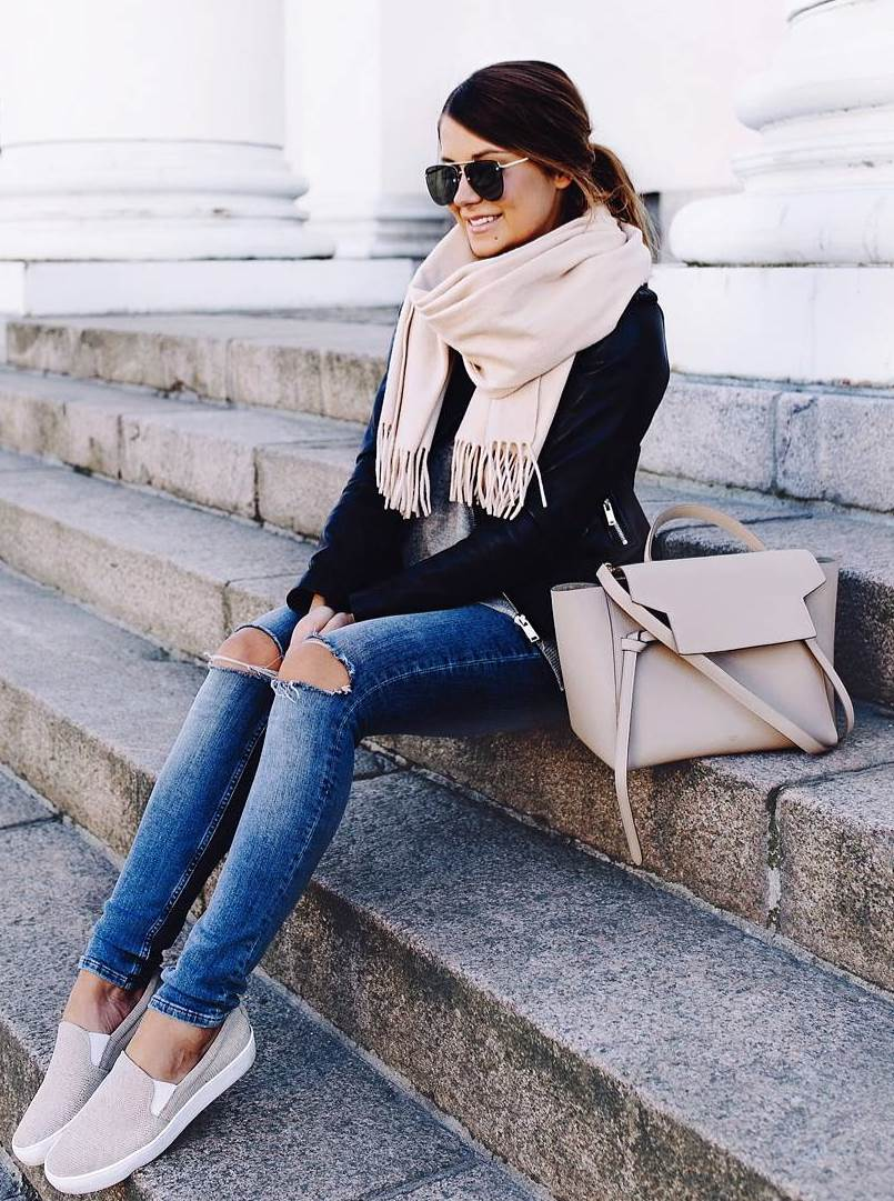 what to wear with a scarf : ripped jeans + slip-on + bag + sweater