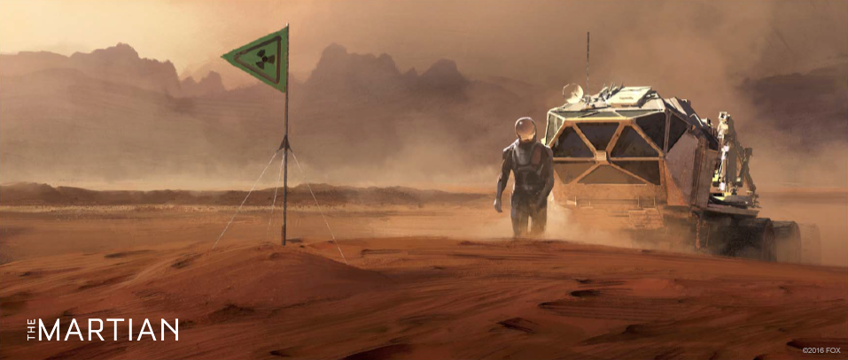 Concept art for The Martian - Mark Watney, rover and the RTG