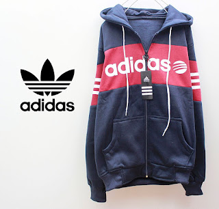 Jaket Distro Bandung - Adidas Fleece Navy Strip Merah Logo Adidas Putih 024 Originals