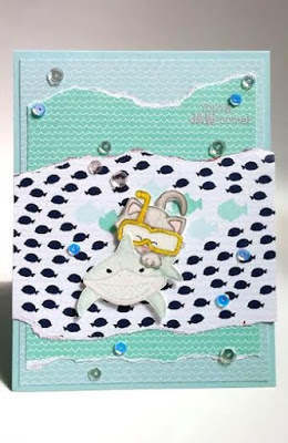 Kitty riding shark Card by May Guest Designer Nakaba Rager | Newton's Nook Designs #newtonsnook