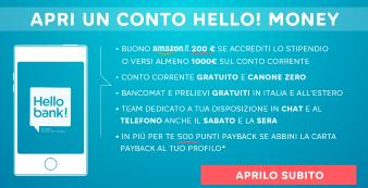 Hello Bank! Promozione Amazon e Payback