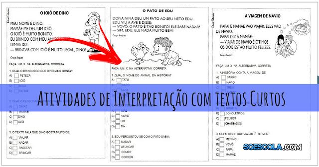Atividades de Interpretação com textos curtos prontos para imprimir, indicado a alunos do segundo ano do Ensino Fundamental.