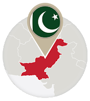 Pakistani flag and map