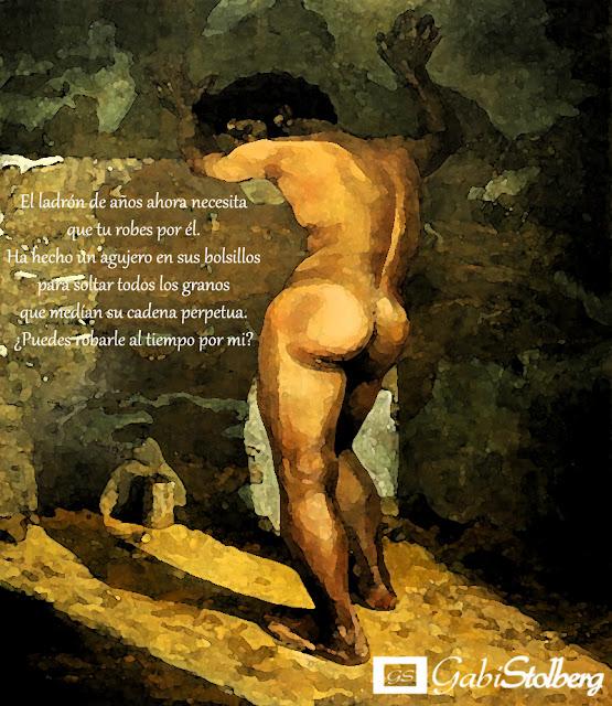 ilustracion hombre desnudo de espaldas apoyado en una pared
