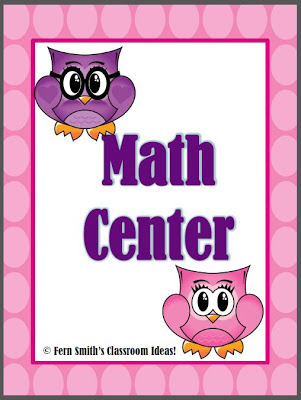 Fern Smith's Freebie Friday ~ Owl Themed Math Center Sign!