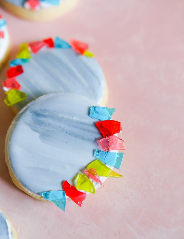 migraine aura decorated cookies