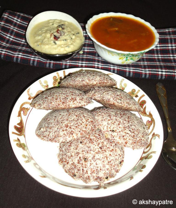 ragi idli ready to serve