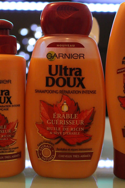 photo des produits de la gamme ultra doux à l'erable guerisseur avec en premier plan le shampoing