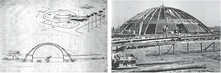 Construção do planetário, por Niemeyer