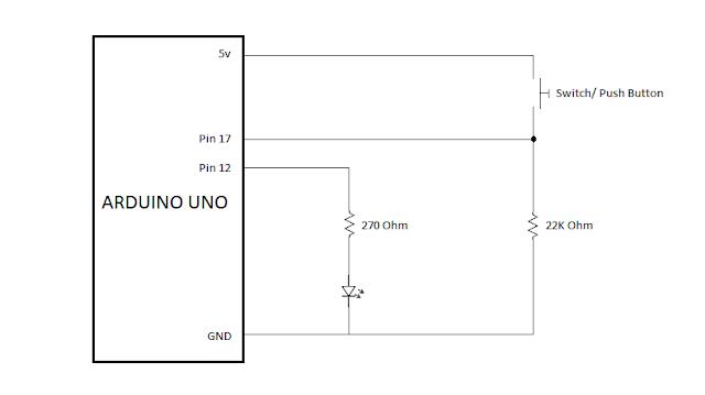Contoh Skema Rangkaian Arduino LED dan Tombol Untuk Pemula